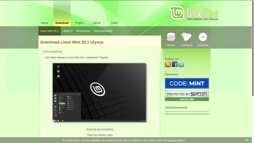 Linux Mint - website, download page - 1
