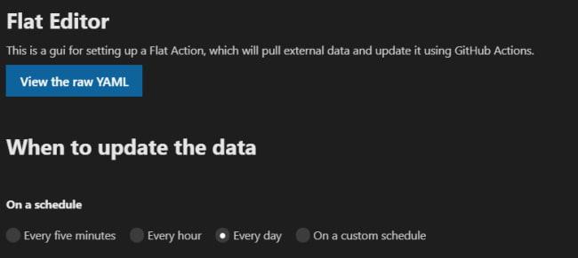 Flat Data Editor, schedule