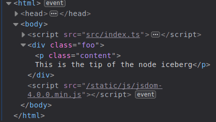 Result of the function calls as seen in the Inspect panel of the Firefox DevTools