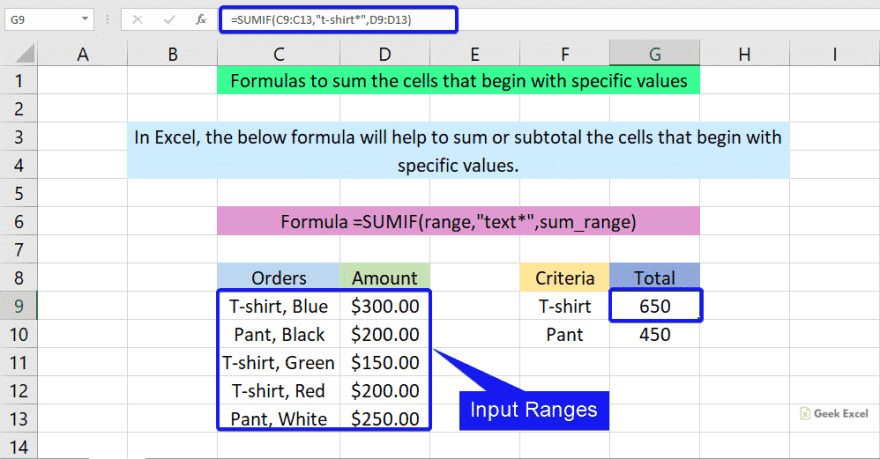 Formulas to sum the cells that begin with