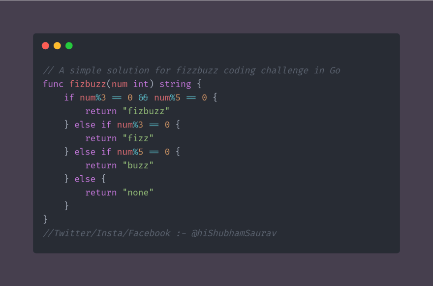 fizzbuzz coding challenge in golang