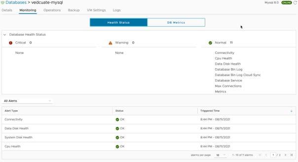 Data Management for Tanzu - Org User - Database Monitoring - Health Status