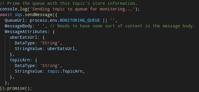"TypeScript / AWS SDK for Javascript / SQS ""sendMessage"""