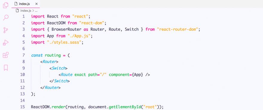 React code snippet with the Tinacious Design - Light theme