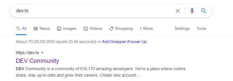 dev.to has the title Dev community