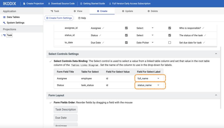 IKODIX - Select controls settings