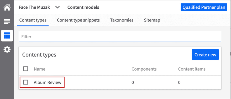 New content type added to the model