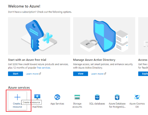 Click Create a resource in Azure to create a resource group