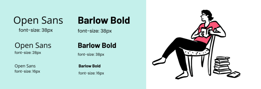 Comparison of Open Sans & Barlow fonts at 38, 28, and 16 pixels in size