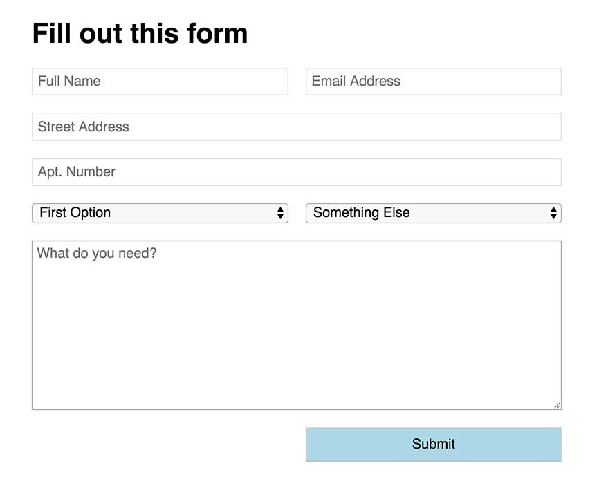 A simple form with both 2-column elements and 1-column full width elements