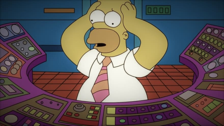 Homer Simpson at his new job, looking at switches on the panel and having trouble to choose