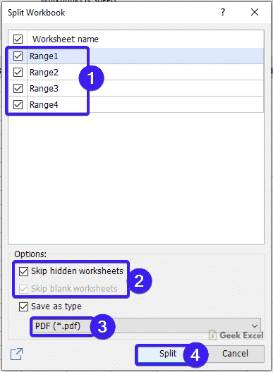 Split Workbook Dialog box
