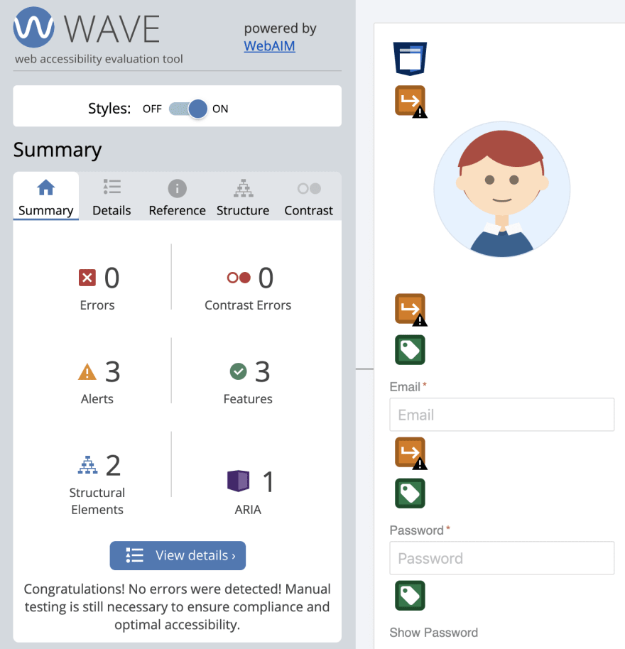 Results from running WebAIM Wave