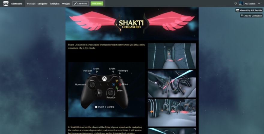 A screenshot of Shakti Unlimited's itch.io page, featuring controls and copytext