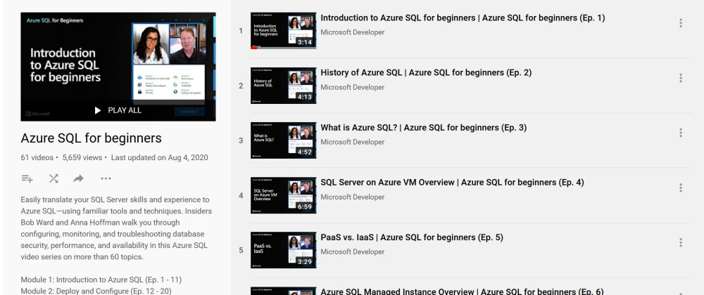 Cover image for Azure SQL for Beginners - Video Playlist