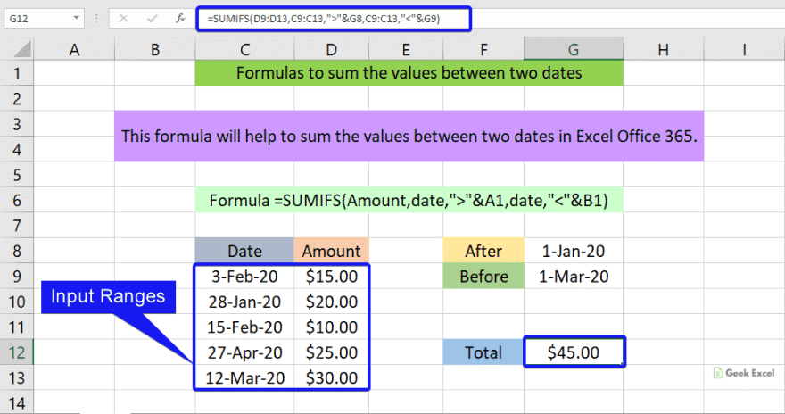 Formulas to sum the values between two dates