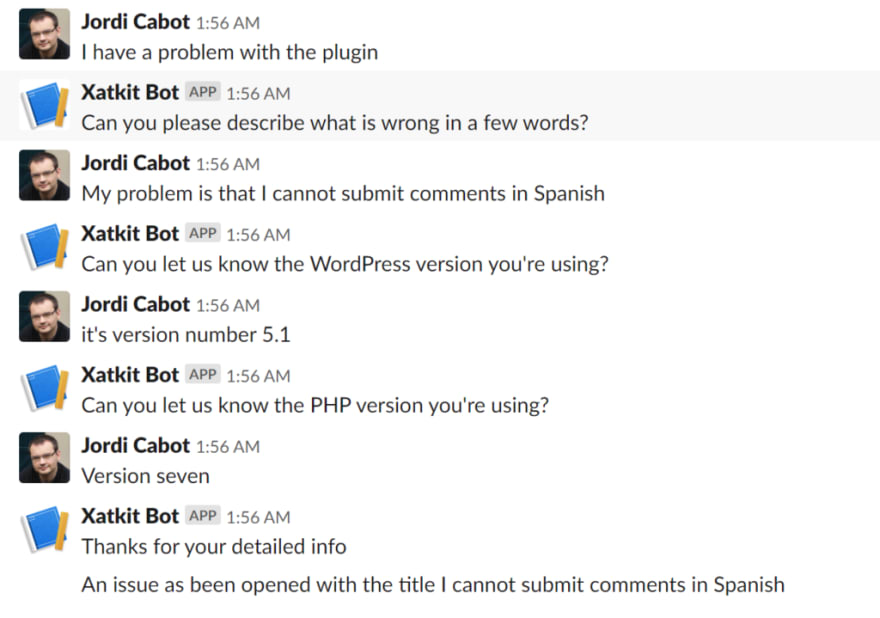 Chatbot to fill a bug report from Slack