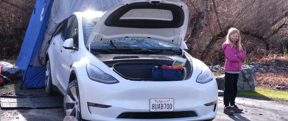 Cover image for Tesla Model Y: family camping in below-zero temperatures