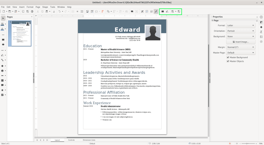 Redaction Start in Draw Libreoffice 6.3