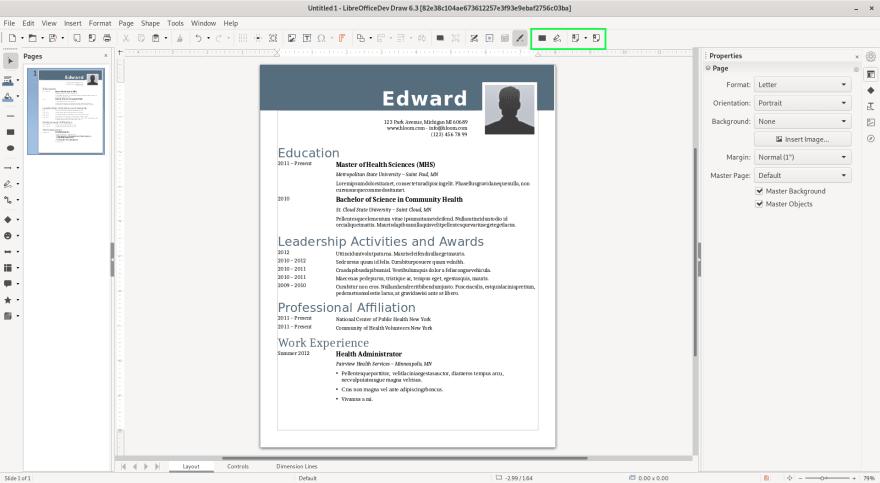 Redaction Start in Draw Libreoffice 6.3