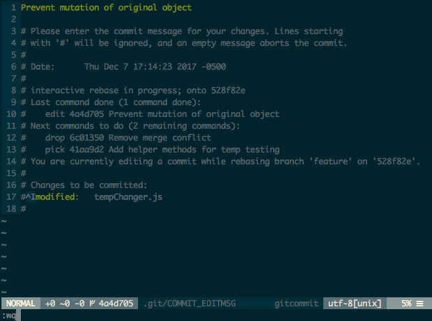 Vim window of first commit