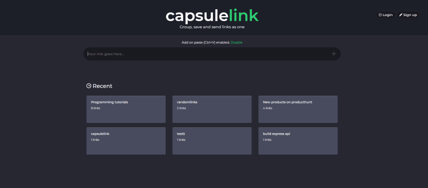 First version of capsulelink.com