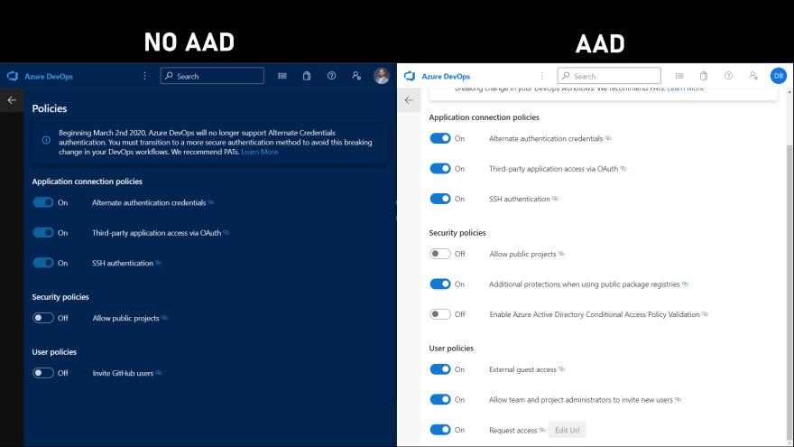 Policies AAD vs No AAD