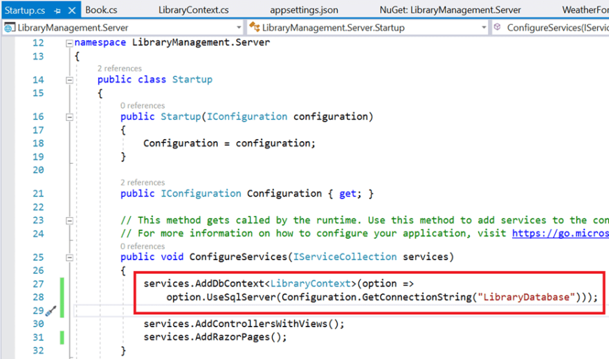 Configure the DbContext using a connection string and register it as a scoped service using the AddDbContext method in Startup.cs