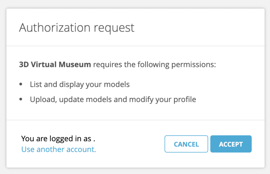 Example of Sketchfab's OAuth screen