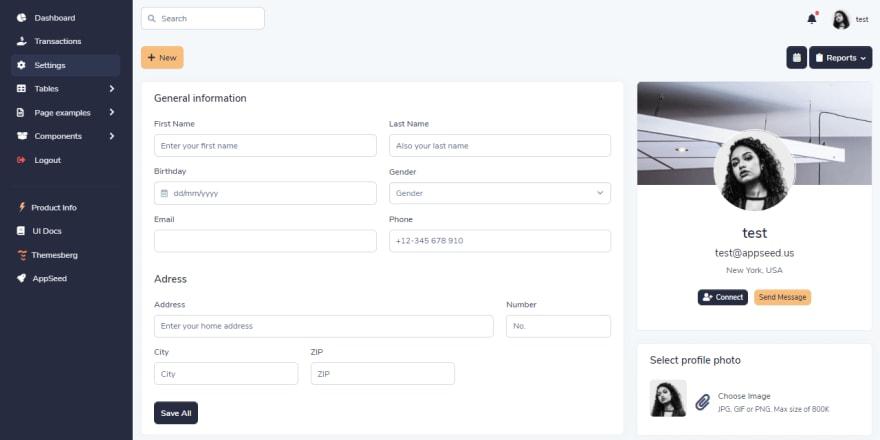 Django Volt Dashboard - Widgets Page.