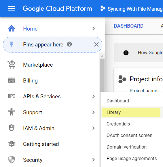 select APIs & Services and then Library