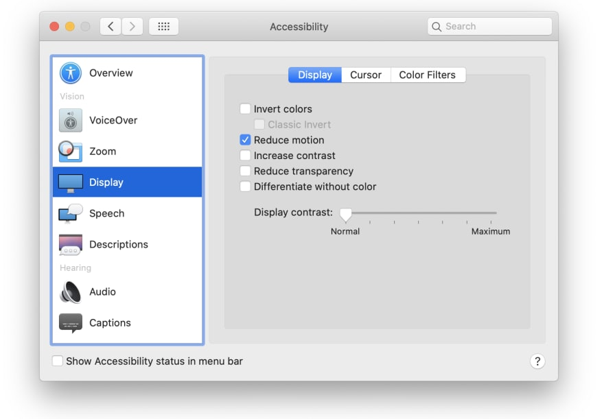 Screenshot of MacOS accessibility settings window