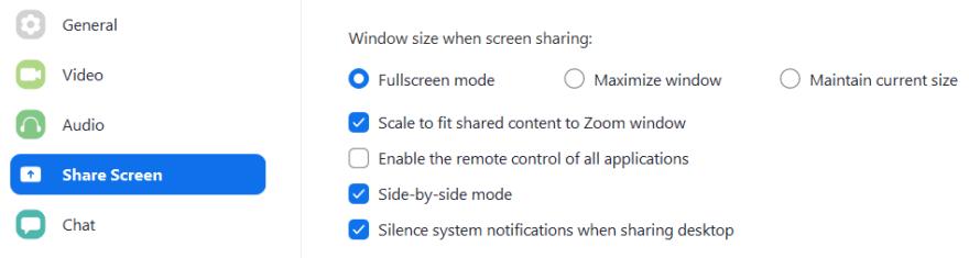 side by side in zoom