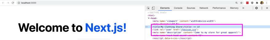 Updated metadata in Next.js head