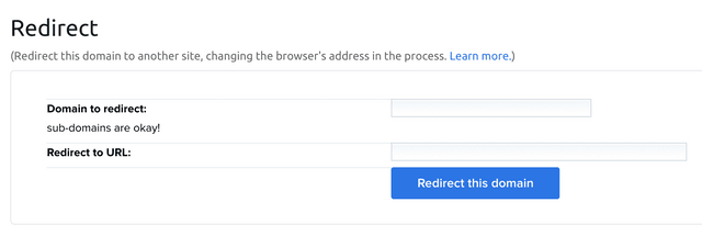 """Screenshot of a form field with two input fields. The label for the first input field says, """"Domain to redirect: subdomains are okay!"""" The label for the second input field says, """"Redirect to URL""""."""