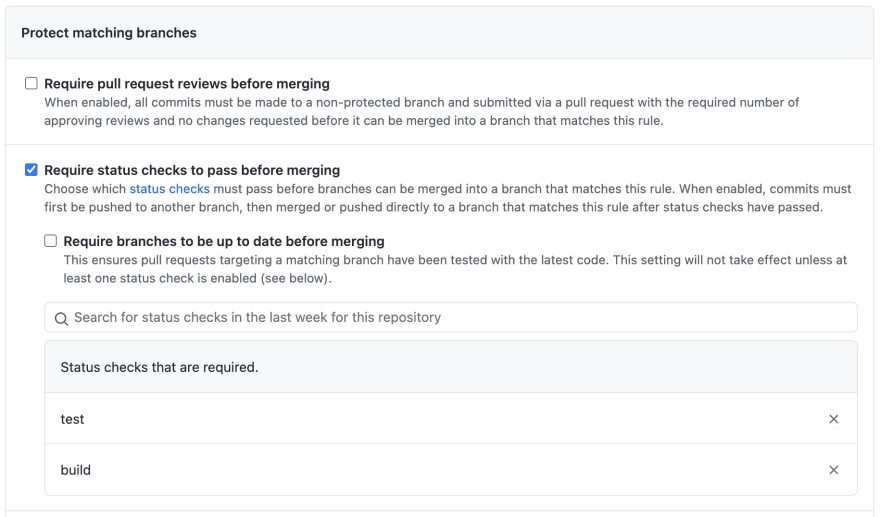 screenshot of the branch protection rule GUI