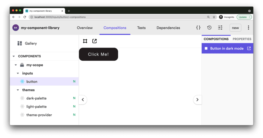 An example workspace UI