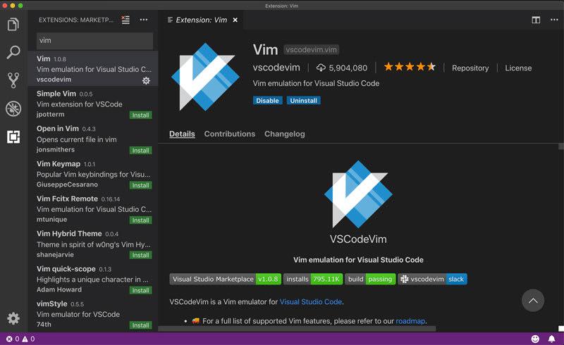 VSCodeVim plugin inside VSCode