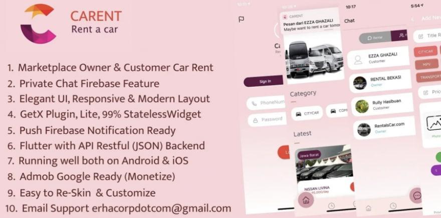 Carent – Rent A Car Flutter Apps template app
