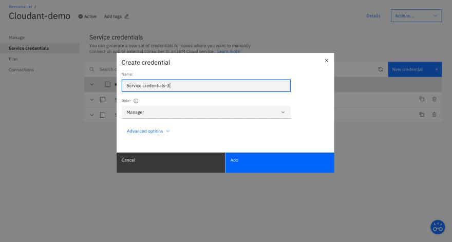 Create credentials for Cloudant
