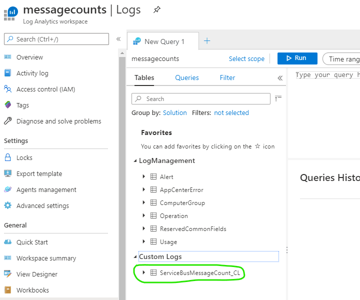 new table in log analytics