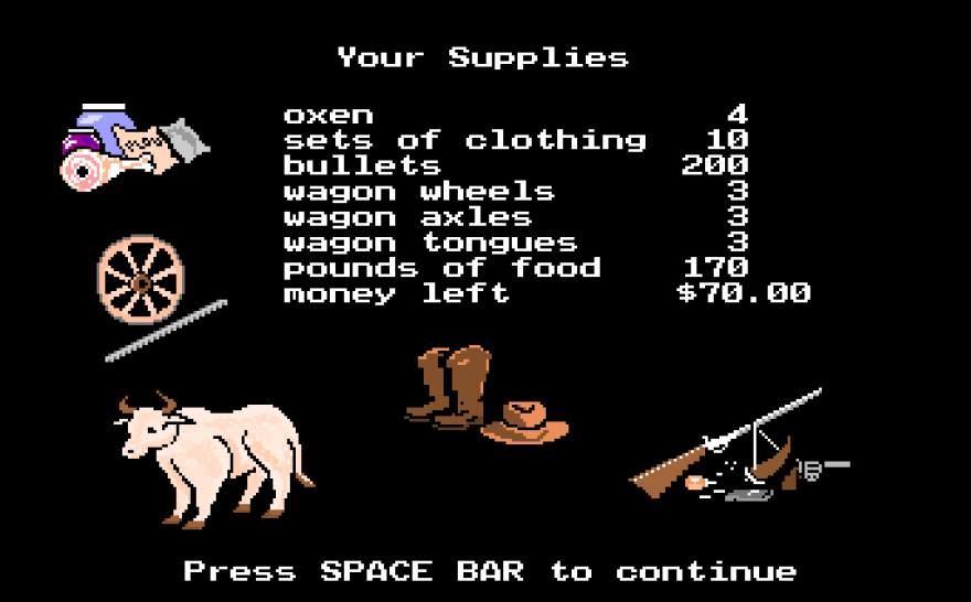 Oregon Trail, a text-based adventure game by MECC.