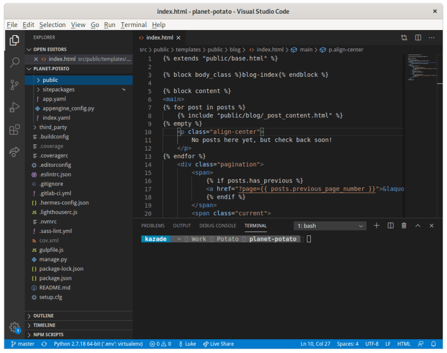 Code editing with Visual Studio Code