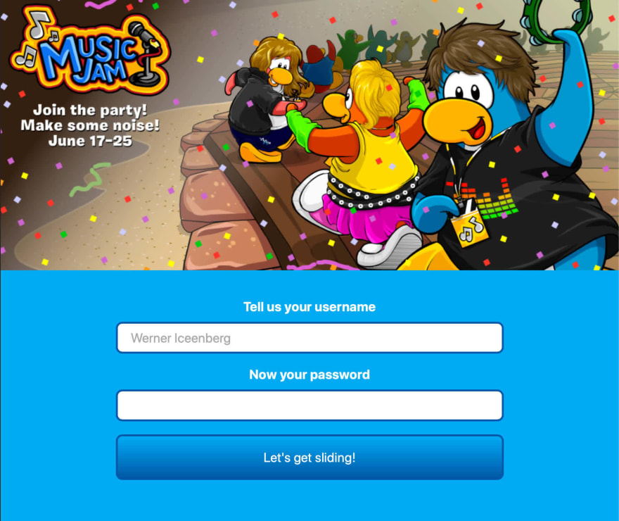 A hideously-perfect club penguin signup screen