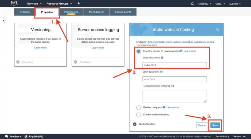 aws s3 bucket enable website