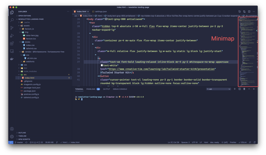 vs code user interface with minimap highlighted