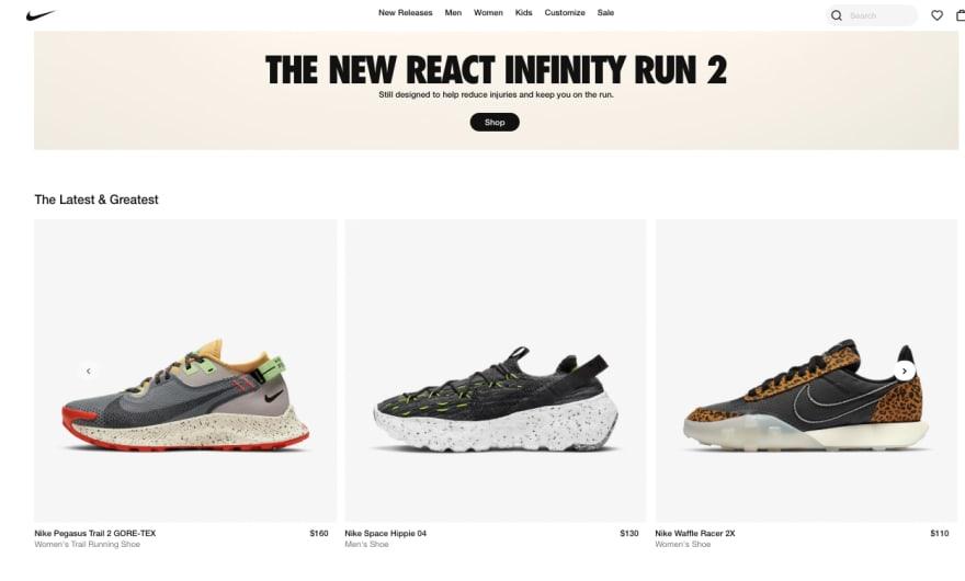 Nike's Homepage