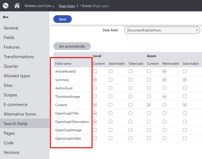 Kentico Xperience Page Type Search Fields