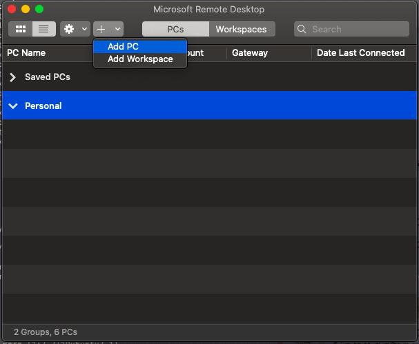 Add PC in Microsoft Remote Desktop