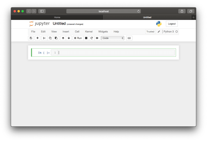 Empty Jupyter notebook